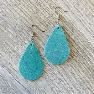 Teal Faux Leather Earrings